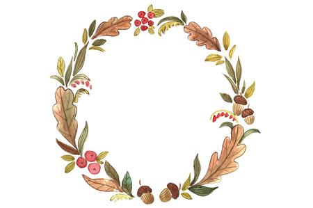 leaf logo: Watercolor autumn wreath.
