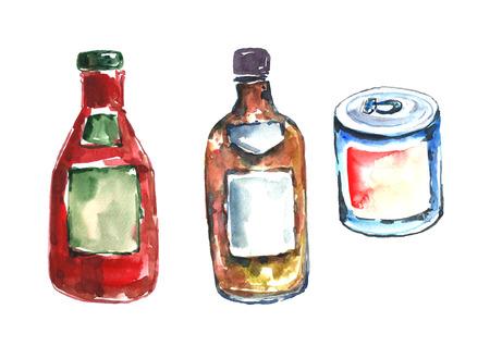 Watercolor sauces and tin. Фото со стока
