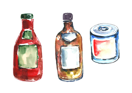 tin: Watercolor sauces and tin. Stock Photo