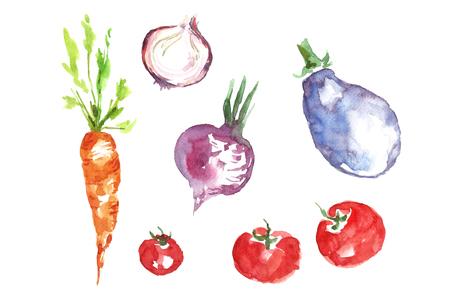 Watercolor vegetables.