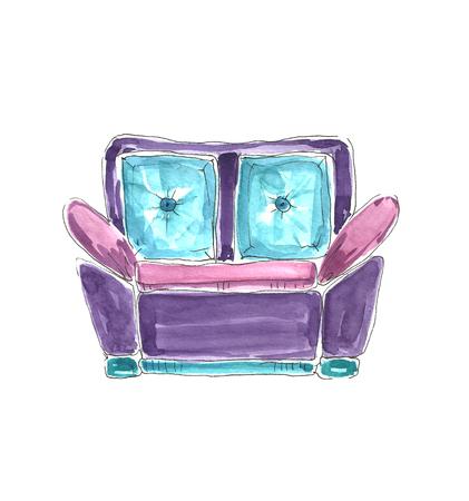 Watercolor sofa. Фото со стока