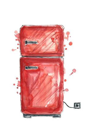 Watercolor red fridge. Фото со стока