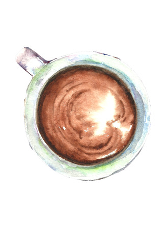 Watercolor cup of coffee.