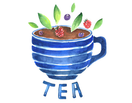 Watercolor cup of herbal tea. Фото со стока