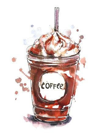 Watercolor glass of coffee. Фото со стока