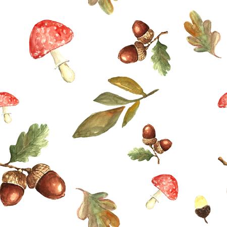 Watercolor autumn pattern.