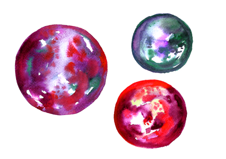 Watercolor red planets.