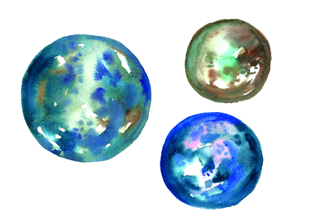 Watercolor blue planets.