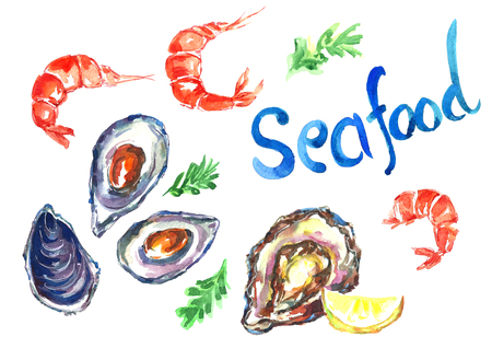 Watercolor seafood set. Фото со стока