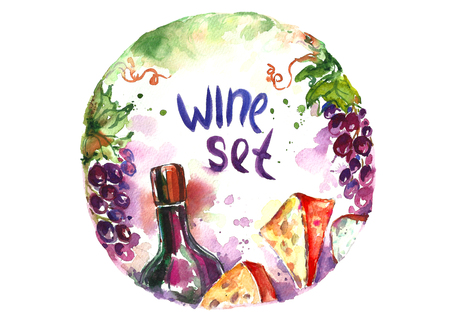 Watercolor wine set.