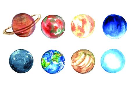 Watercolor planets set. Фото со стока