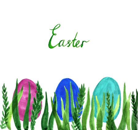 Watercolor Easter postcard.