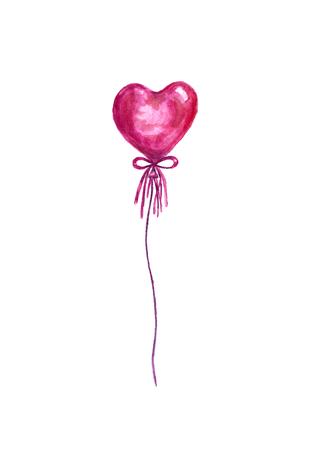 Watercolor heart balloon.