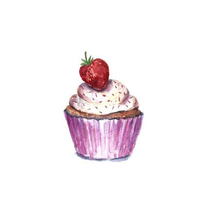 Watercolor strawberry cupcake.