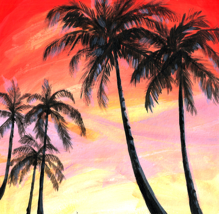 Watercolor palms. Фото со стока
