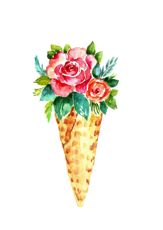 Watercolor waffle cone with flowers.