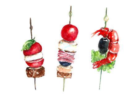 Watercolor food snacks.
