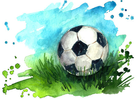 Watercolor football ball on the field.