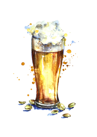 Watercolor beer glass with pistachios.