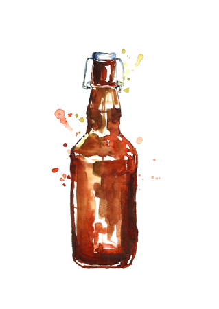 Watercolor beer bottle.