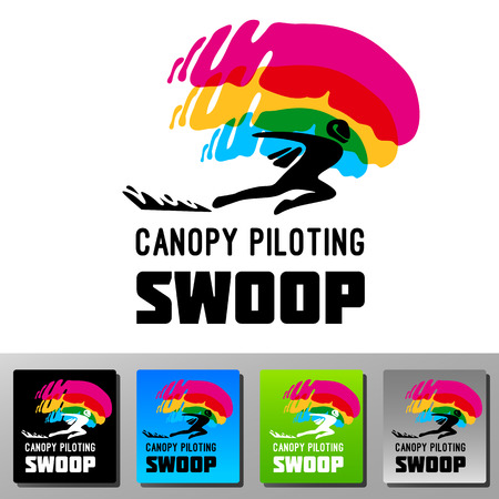 freefall: Swoop canopy piloting skydive vector logo. Colorfull icon flat style. Silhouette of a winged man speed landing.