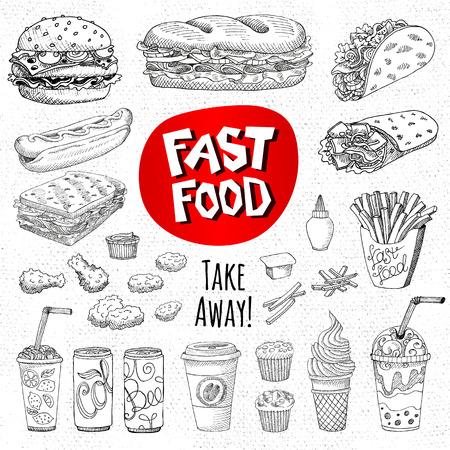 Vector conjunto de los alimentos. el estilo de dibujo. Comida rápida. Hamburguesas, tacos, burritos, pollo, patatas, patatas fritas, sándwich, café, limonada, helados, perros calientes, salsa de tomate, mostaza, refrescos, cerveza. Dibujado a mano elementos de diseño. Ilustración de vector