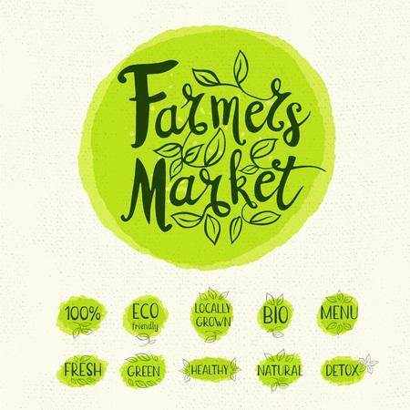 farmer market: Farmer market , lettering design, calligraphy , leaf, set of stickers, green labels. Eco, bio, locally grown, natural, detox, healthy, menu. Hand drawn vector illustration.