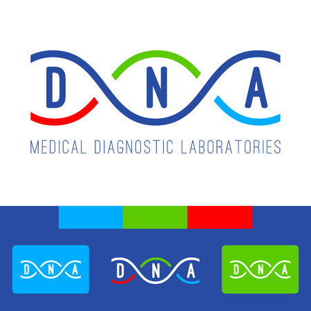 DNA icon of medical clinic diagnostic laboratories. Illustration