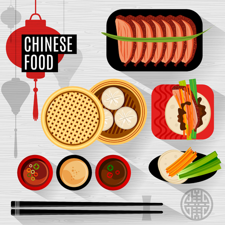 chinese food container: Set of flat, isolated elements chinese food. Chinese food box, plate, chopsticks, top view, silhouette lantern.