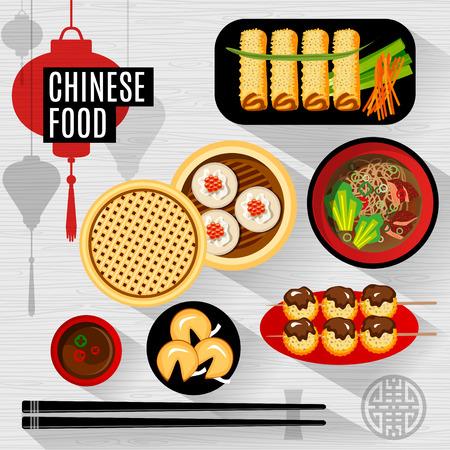 Conjunto de piso, elementos aislados comida china. caja china comida, un plato, palillos, vista desde arriba, la silueta de la linterna. Ilustración de vector