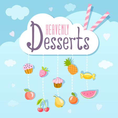 heavenly: Heavenly desserts template. Illustration