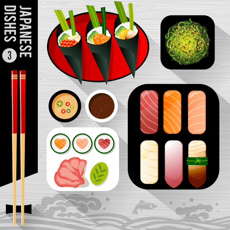 Food Illustration : Japanese dishes, flat, top view, fish, waves.