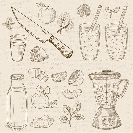 borscht: Set of chalk sketch hand drawn, in sketch style, food and spices, old paper textured background. Set blender, glasses, bottle, fruit, mint, knife, smoothies, cocktails. Illustration