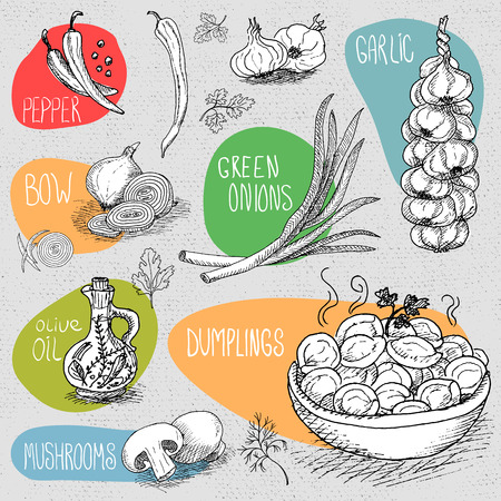 Set of stickers in sketch style, food and spices, old paper textured background. Dumplings, onion, garlic, pepper, bay leaf, mushrooms.