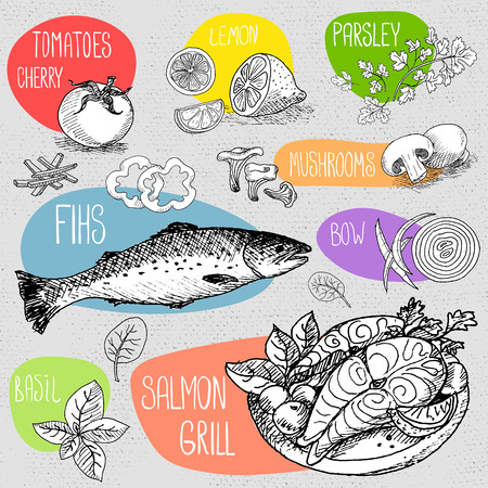 Set of stickers in sketch style, food and spices, old paper textured background. Fish, grill, salmon, tomatoes, parsley, lemon, basil, mushrooms.