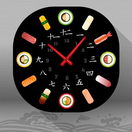 Eten Vector Illustratie: Japanse gerechten: Sushi tijd, klok, hiërogliefen. Vector Illustratie. Japanse karakters in een wijzerplaat geven de getallen van 1 tot 12.