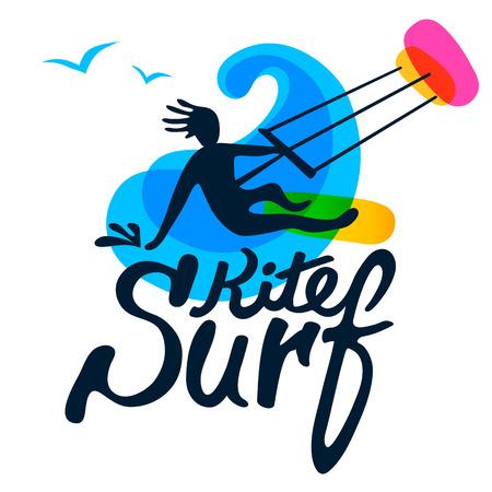 Kitesurfer à bord surf avec cerf-volant, vague et mouette sur fond blanc, logo vecteur modèle. Cartoon, le style plat, silhouette, lettrage.