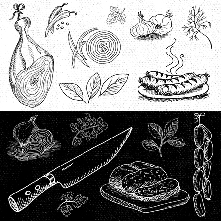 dill: Set of chalk hand drawn, in sketch style, food and spices, black and white chalkboard background. Ham, knife, dill, onion, sausages, garlic, pepper, bay leaf. Hand drawn vector illustration.