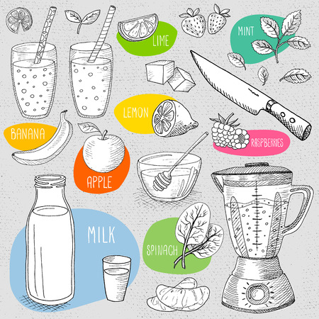 Set of stickers in sketch style, food and spices, old paper textured background. Set: banana, apple, blender, glasses, bottle, fruit, mint, knife, smoothies, cocktails. Hand drawn illustration. Illustration