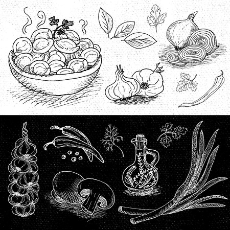 Set of chalk hand drawn, in sketch style, food and spices, black and white chalkboard background. Dumplings, onion, garlic, pepper, bay leaf, mushrooms. Hand drawn vector illustration.