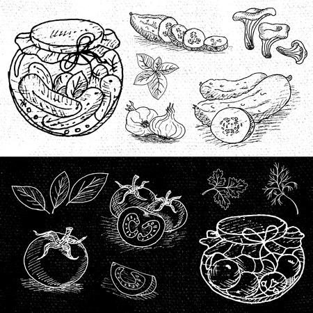 pickles: Set of chalk hand drawn, in sketch style, food and spices, black and white chalkboard background. Pickles in the jar, dill, cucumber, tomato, garlic, bay leaf. Hand drawn vector illustration.