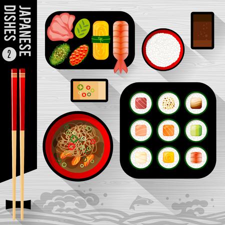 Food Illustration : Japanese food: Sushi Vector Illustration