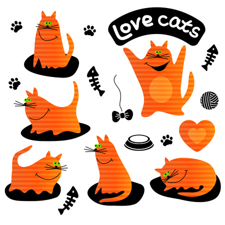 Icons vector set of funny ginger cats. Cartoon character.