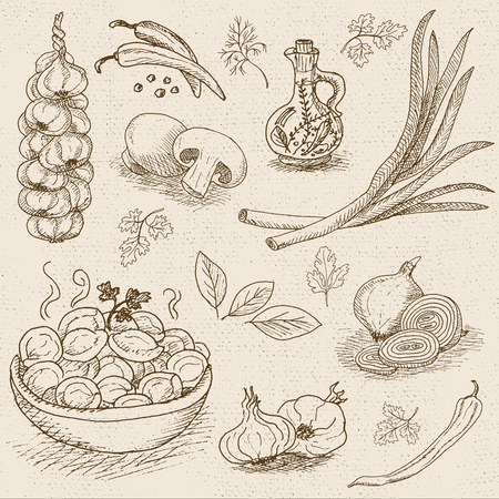 Set of chalk sketch hand drawn, in sketch style, food and spices, old paper textured background. Dumplings, onion, garlic, pepper, bay leaf, mushrooms. Hand drawn vector illustration.