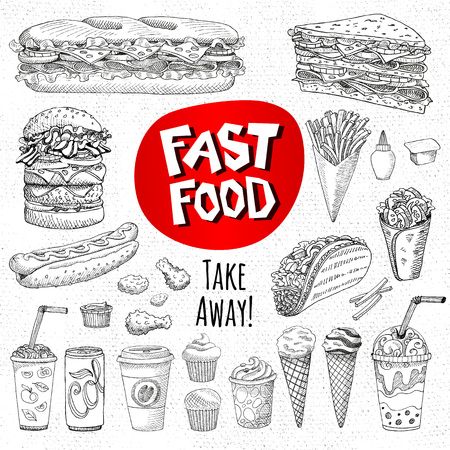 Vector set of food. Sketch style. Fast food. Hamburger, taco, burrito, chicken, potato, fries, sandwich, coffee, lemonade, ice cream, hot dog, ketchup, mustard, soda, beer. Hand drawn design elements.
