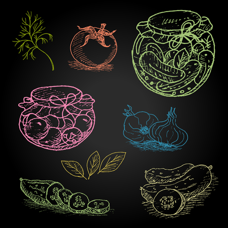 pickles: Set of color chalk drawn on a blackboard food, spices. pickles in the jar, dill, cucumber, tomato, garlic, bay leaf. Hand drawn vector illustration.