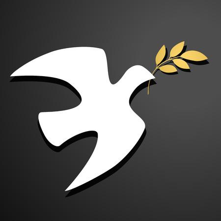 Taubenschattenbild Weiße Taube, goldener Ölzweig. Schwarzer Hintergrund. Logo Vorlage. Vektor-Illustration.