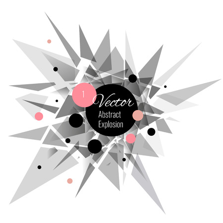 Abstract vector explosion background Pink, black, gray