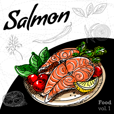 Set of hand drawing food Salmon grill. Illustration