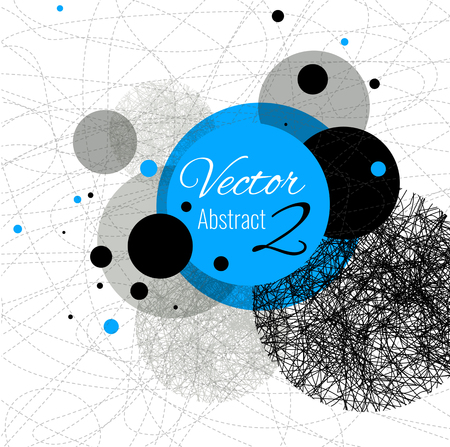 rounds: Abstract vector design rounds, line Blue, black Illustration